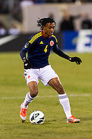 Juan Guillermo Cuadrado (4) of Colombia. Brazil (BRA) and Colombia (COL) played to a 1-1 tie during international friendly at MetLife Stadium in East Rutherford, NJ, on November 14, 2012.
