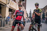 Alessandro De Marchi (ITA/BMC) & Roman Kreuziger (CZE/Mitchelton-Scott) catching up at the start<br /> <br /> 99th Milano - Torino 2018 (ITA)<br /> from Magenta to Superga: 200km
