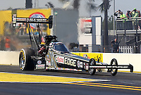 Mar. 15, 2013; Gainesville, FL, USA; NHRA top fuel dragster driver Brittany Force during qualifying for the Gatornationals at Auto-Plus Raceway at Gainesville. Mandatory Credit: Mark J. Rebilas-
