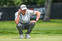 4th July 2021, Detroit, MI, USA;  Mark Anderson (USA) lines up his birdie putt on 1 during the Rocket Mortgage Classic Rd4 at Detroit Golf Club on July 4,