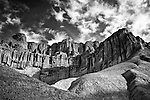 Black and white of Red Cathedral in Golden Canyon, Death Valley, California