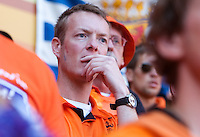 A Netherlands fan watches the FIFA World Cup first round match between Holland and Denmark at Soccer City in Johannesburg, South Africa on Monday, June 11, 2010.