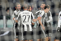 Calcio, Serie A: Juventus vs Bologna. Torino, Juventus Stadium, 8 gennaio 2017.<br /> Juventus' Gonzalo Higuain, left, celebrates with teammates after scoring his second goal during the Italian Serie A football match between Juventus and Bologna at Turin's Juventus Stadium, 8 January 2017. Juventus won 3-0.<br /> UPDATE IMAGES PRESS/Manuela Viganti