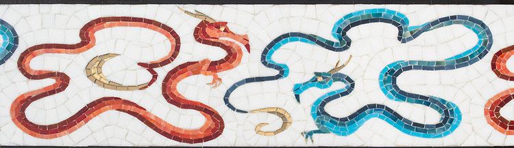 "8"" Here Be Dragons border, a hand-cut glass mosaic, shown in Absolute White Sea Glass™, Sardonyx, Obsidian, Ruby, Chrysocolla, Alexandrite, and Marcasite jewel glass, with Gold glass, is part of Cean Irminger's second KIDDO Collection, ""KIDDO: Wunderkammer® Edition"" for New Ravenna."
