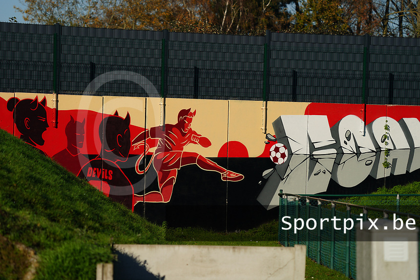 20200911 - TUBIZE , Belgium : Graffiti on the wall pictured during the training session of the Belgian Women's National Team, Red Flames ahead of the Women's Euro Qualifier match against Switzerland, on the 28th of November 2020 at Proximus Basecamp. PHOTO: SEVIL OKTEM | SPORTPIX.BE