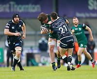 4th June 2021; Galway Sportsgrounds, Galway, Connacht, Ireland; Rainbow Cup Rugby, Connacht versus Ospreys; Sean Masterson (Connacht) tries to get away from Reuben Morgan-Williams (Ospreys)