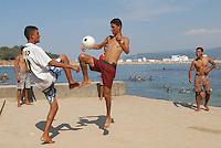- Tunisia, young people play  soccer on  waterfront of Tabarka town<br /> <br /> - Tunisia, giovani giocano a calcio sul lungomare della città di Tabarka