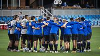 SAN JOSE, CA - NOVEMBER 04: San Jose Earthquakes players huddle before a game between Los Angeles FC and San Jose Earthquakes at Earthquakes Stadium on November 04, 2020 in San Jose, California.