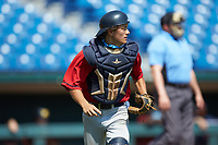 Catcher Matthew Maloney (7) of Central Catholic HS in Windham, NH playing for the Boston Red Sox scout team during the East Coast Pro Showcase at the Hoover Met Complex on August 5, 2020 in Hoover, AL. (Brian Westerholt/Four Seam Images)