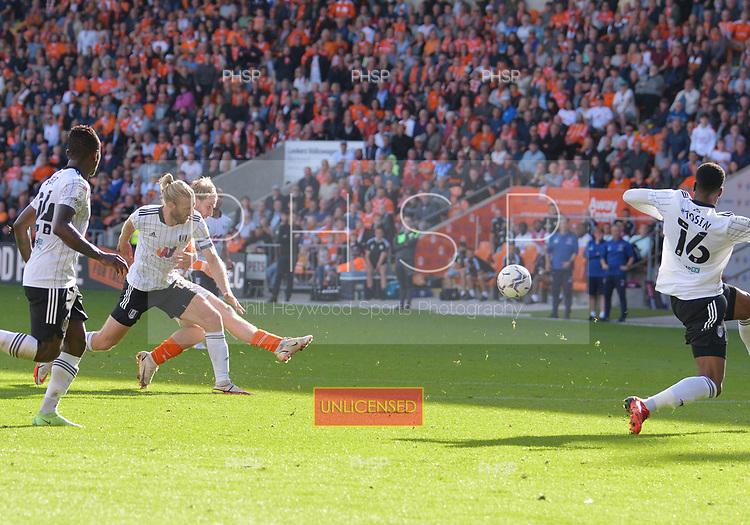 11/09/2021 Sky Bet Championship Blackpool v Fulham<br /> <br /> Josh Bowler shoots over