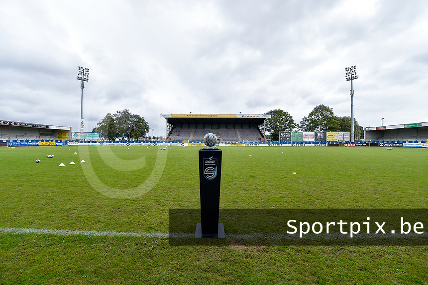 Illustration picture shows the match ball pictured at Forestier Stadium before a female soccer game between SV Zulte - Waregem and Club Brugge YLA on the fourth matchday of the 2021 - 2022 season of the Belgian Scooore Womens Super League , saturday 11 of September 2021  in Harelbeke , Belgium . PHOTO SPORTPIX | DIRK VUYLSTEKE