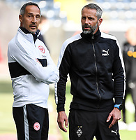 Trainer Adi Hütter (Eintracht Frankfurt) und Trainer Marco Rose (Borussia Mönchengladbach) im Innenraum der Commerzbank Arena - 16.05.2020, Fussball 1.Bundesliga, 26.Spieltag, Eintracht Frankfurt  - Borussia Moenchengladbach emspor, v.l. Stadionansicht / Ansicht / Arena / Stadion / Innenraum / Innen / Innenansicht / Videowall<br /> <br /> <br /> Foto: Jan Huebner/Pool VIA Marc Schüler/Sportpics.de<br /> <br /> Nur für journalistische Zwecke. Only for editorial use. (DFL/DFB REGULATIONS PROHIBIT ANY USE OF PHOTOGRAPHS as IMAGE SEQUENCES and/or QUASI-VIDEO)