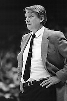 OAKLAND, CA - Head coach Don Nelson of the Golden State Warriors watches his team during a game at the Oakland Coliseum Arena in Oakland, California in 1988. Photo by Brad Mangin