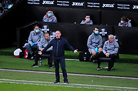 Steve Cooper Head Coach of Swansea City shouts instructions to his team from the dug-out during the Sky Bet Championship match between Swansea City and Blackburn Rovers at the Liberty Stadium in Swansea, Wales, UK. Saturday 31 October 2020