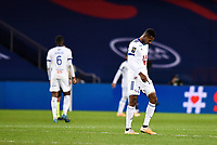 24th December 2020; Paris, France; French League 1 football, Paris St Germain versus Strasbourg; Players of Strasbourg look dejected after being beaten by a score of 4-0