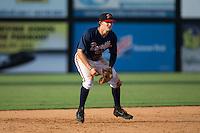 Danville Braves third baseman Ryan O'Malley (13) on defense against the Pulaski Yankees at American Legion Post 325 Field on July 31, 2016 in Danville, Virginia.  The Yankees defeated the Braves 8-3.  (Brian Westerholt/Four Seam Images)