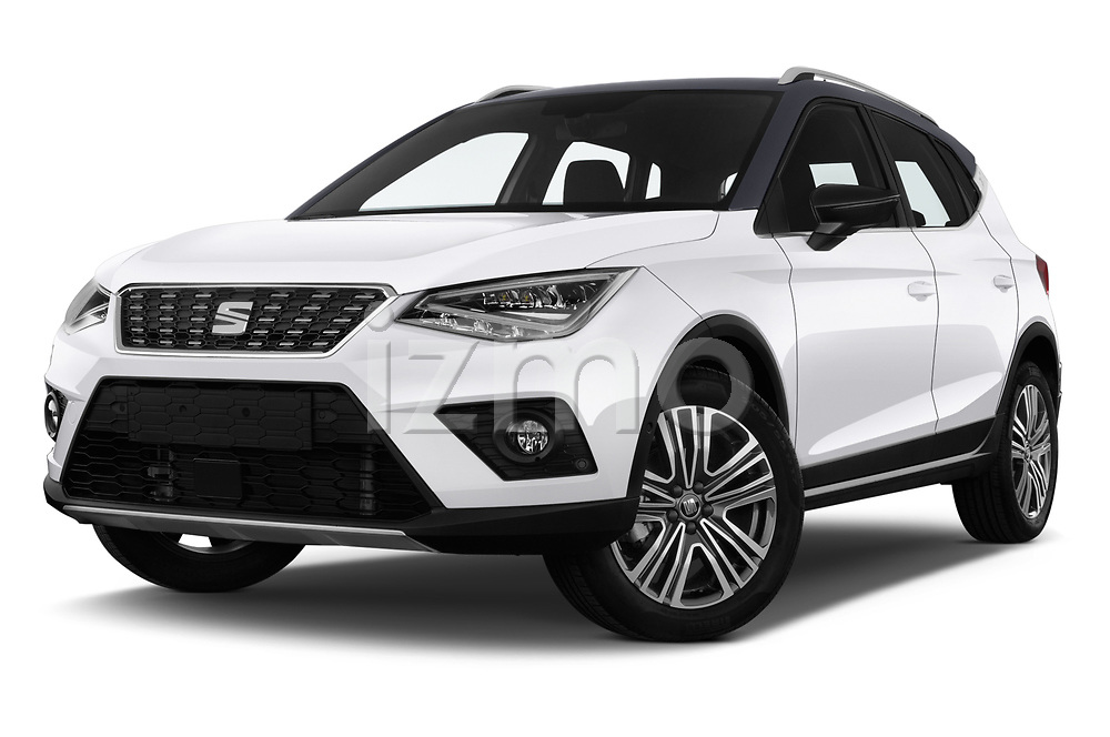 Stock pictures of low aggressive front three quarter view of a 2018 Seat Arona Xcellence 5 Door SUV