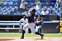 Charleston RiverDogs Canaan Smith (15) swings at a pitch during a game against the Asheville Tourists at McCormick Field on August 18, 2019 in Asheville, North Carolina. The Tourists defeated the RiverDogs 6-5. (Tony Farlow/Four Seam Images)