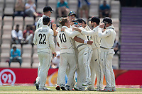 Team mates congratulate Neil Wagner, New Zealand on the dismissal of Ravindra Jadeja, India during India vs New Zealand, ICC World Test Championship Final Cricket at The Hampshire Bowl on 23rd June 2021