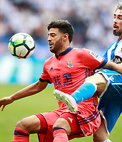 Deportivo de la Coruna's Luisinho Correia (r) and Real Sociedad's Carlos Vela during La Liga match. September 10,2017.  *** Local Caption *** © pixathlon<br /> Contact: +49-40-22 63 02 60 , info@pixathlon.de