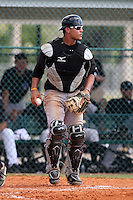 Toronto Blue Jays minor league catcher Antonio Jimenez (17) vs. the Pittsburgh Pirates during an Instructional League game at Pirate City in Bradenton, Florida;  October 11, 2010.  Photo By Mike Janes/Four Seam Images