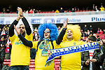 Soccer fans show their supports to their team UD Las Palmas prior to the La Liga 2017-18 match between Atletico de Madrid and UD Las Palmas at Wanda Metropolitano  on January 28 2018 in Madrid, Spain. Photo by Diego Souto / Power Sport Images
