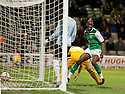 HIBERNIAN'S ISAIAH OSBOURNE CELEBRATES AFTER HE SCORES HIBS FIRST