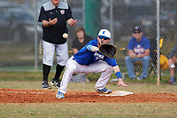 Illinois College Blueboys first baseman Seth Woollen (33) stretches for a throw during a game against the Edgewood Eagles on March 14, 2017 at Terry Park in Fort Myers, Florida.  Edgewood defeated Illinois College 11-2.  (Mike Janes/Four Seam Images)