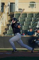Eric Wagaman (5) of the Charleston RiverDogs follows through on his swing against the Kannapolis Intimidators at Kannapolis Intimidators Stadium on May 2, 2019 in Kannapolis, North Carolina. The RiverDogs defeated the Intimidators 4-0. (Brian Westerholt/Four Seam Images)