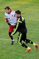 Spanish National Team's  training at Ciudad del Futbol stadium in Las Rozas, Madrid, Spain. In the pic: Iker Casillas and Morata. March 25, 2015. (ALTERPHOTOS/Luis Fernandez) /NORTEphoto.com