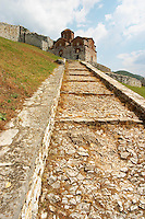 The Hagia Triada Church. Steep footpath with steps leading up. Berat upper citadel old walled city. Albania, Balkan, Europe.