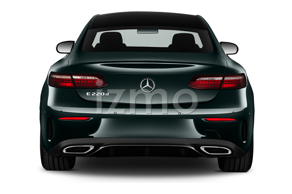 Straight rear view of 2021 Mercedes Benz E-Class AMG-Line 2 Door Coupe Rear View  stock images