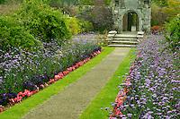 Garden pathway. Gardens at Domoland Castle. Ireland