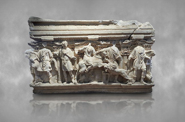 Roman sarcophagus with relief sculptures from Hierapolis . Hierapolis Archaeology Museum, Turkey<br /> <br /> Columned Sarcophagus Sarcopinagu of Euthios Pyrrnon, Asian Archon (ruler), Roman Period First quarter of third century A.D. Loadicea. <br />  <br /> Four sides of these sarcophagi are all in relief. They appear like a columned temple. The reliefs between the grooved columns are related to the private life of the individual. His/her education, heroic scenes and plant or mythological motifs are decorated in relief. The cover of the sarcophagus is arranged like a bed and it is depicted as the wife and the husband as lying on it. The name of the individual and some mythological reliefs are found in the surrounding of the cover. The two sarcophagi in the hall are of this kind.