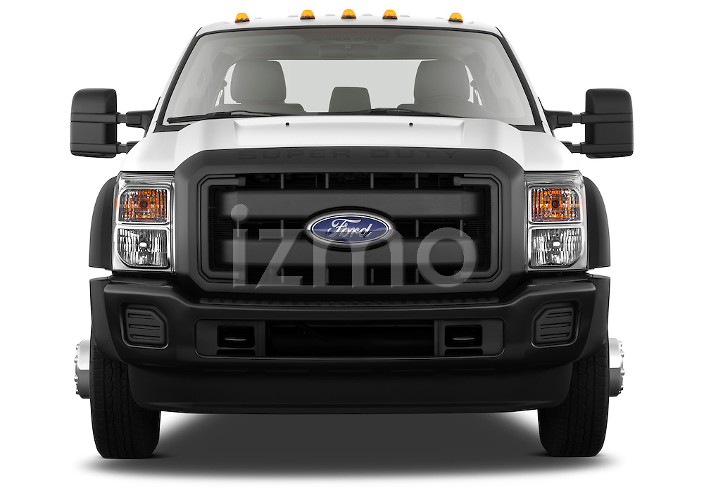 Straight front view of a 2011 Ford F450 Crew Cab