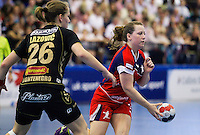 30 MAY 2012 - LONDON, GBR - Heidi Jensen (GBR) of Great Britain (right) passes during the women's 2012 European Handball Championship qualification match against Montenegro at the National Sports Centre in Crystal Palace, Great Britain .(PHOTO (C) 2012 NIGEL FARROW)