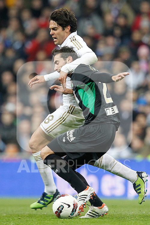 Real Madrid's Kaka and Racing de Santander's Picon during la Liga match on february 18th 2012...Photo: Cesar Cebolla / ALFAQUI