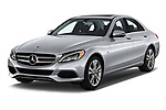 2018 Mercedes Benz C-Class Sedan C350e Plug-in Hybrid 4 Door Sedan angular front stock photos of front three quarter view