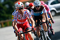 14th March 2020, Paris to Nice cycling tour, final day, stage 7;  EDET Nicolas (FRA) of COFIDIS with the polka dot jersey in action during stage 7 of the 78th edition of the Paris - Nice cycling race, a stage of 166,5km with start in Nice and finish in Valdeblore La Colmiane on March 14, 2020 in Valdeblore La Colmiane, France