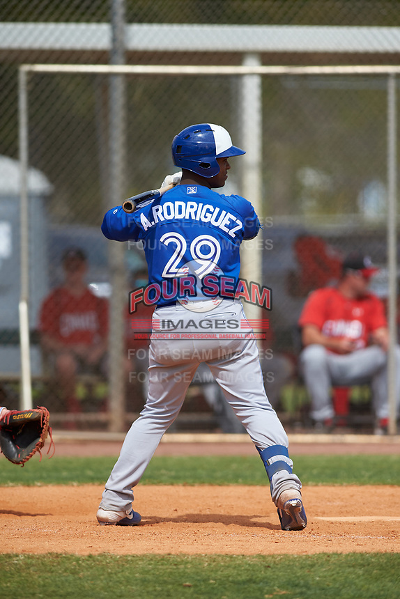 Toronto Blue Jays Alberto Rodriguez (29) bats during an exhibition game against the Canada Junior National Team on March 8, 2020 at Baseball City in St. Petersburg, Florida.  (Mike Janes/Four Seam Images)
