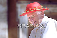 "Pope Benedict XVI wear his ""saturno"" hat before the weekly general audience on June 9, 2010 in St Peter's square at the Vatican"