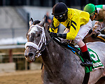 OZONE PARK, NEW YORK: MAR 10: Skyler's Scramjet, #5, ridden by Trevor McCarthy, wins the Tom Fool Handicap at   Aqueduct  Racetrack, on March 10, 2018 in Ozone Park, New York. ( Photo by Sue Kawczynski/Eclipse Sportswire/Getty Images)