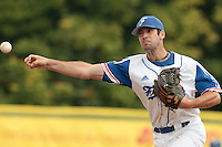 27 july 2010: Pierrick Le Mestre of France pitches against Belgium during France 8-2 victory over Belgium, in day 5 of the 2010 European Championship Seniors, in Stuttgart, Germany.