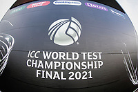 Close up of the World Test Championship Finals banner during a training session ahead of the ICC World Test Championship Final at the Ageas Bowl on 17th June 2021