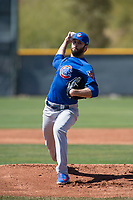 Chicago Cubs relief pitcher Brandon Morrow (15) during a Minor League Spring Training game against the Oakland Athletics at Sloan Park on March 19, 2018 in Mesa, Arizona. (Zachary Lucy/Four Seam Images)