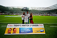 Saturday 17 August 2013<br /> <br /> Pictured: Match sponsors with Lee Trundle<br /> <br /> Re: Barclays Premier League Swansea City v Manchester United at the Liberty Stadium, Swansea, Wales