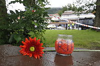(Oslo July 24, 2011) Flowers outside the senter for relatives at Sundvollen, near Utøya. Two days after a shooting spree by a lone gunman who killed over 80 youths at a political camp.  The man has also admitted to be behind a  powerful explosion that ripped through government buildings in central Oslo, Norway, killing many people and injuring more.  (photo: Fredrik Naumann/Felix Features)