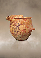 Minoan bridge spouted jars decorated with flowers, Archanes Palace  1600-1450 BC; Heraklion Archaeological  Museum.