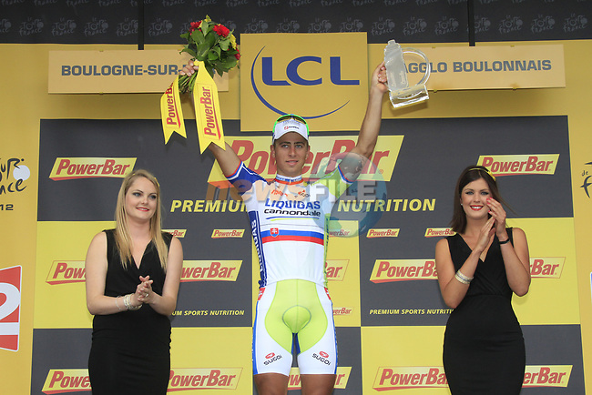 Peter Sagan (SVK) Liquigas-Cannondale wins Stage 3 of the 99th edition of the Tour de France 2012, running 197km from Orchies to Boulogne-sur-Mere, France. 3rd July 2012.<br /> (Photo by Eoin Clarke/NEWSFILE)