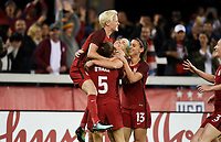 San Jose, CA - Sunday November 12, 2017: Julie Ertz scores and celebrates with her teammates during an International friendly match between the Women's National teams of the United States (USA) and Canada (CAN) at Avaya Stadium.